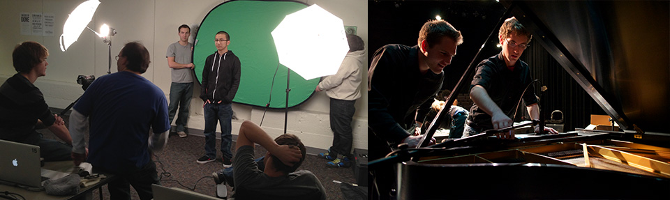 Photos of students using a green screen and recording a piano